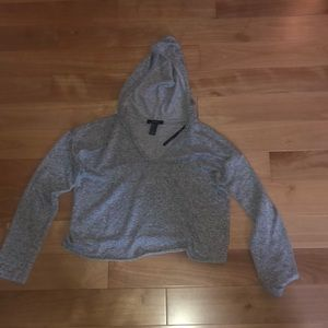 Forever 21 Gray Cropped Hoodie